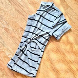 2/$20 Grey & Black Striped Midi Dress